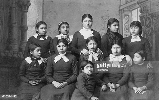 Native American girls from the Omaha tribe at Carlisle School Pennsylvania | Location Carlisle School Pennsylvania