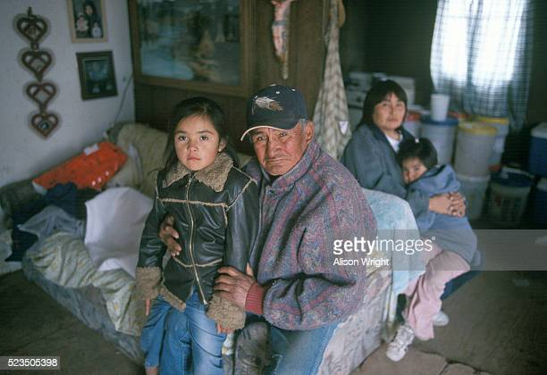 Native American Grandfather and Granddaughter on Reservation