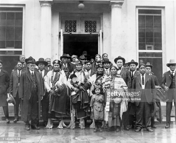 Native American Group at White House, Washington DC, USA, National Photo Company, circa 1920s; front row, left, is Charles H Burke , Commissioner of...
