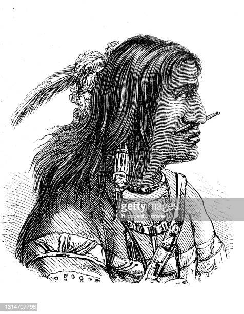 Native American, here a man from the Tananc tribe from Alaska, America, illustration from 1880 / Indianer, hier ein Mann vom Stamm der Tananc aus...