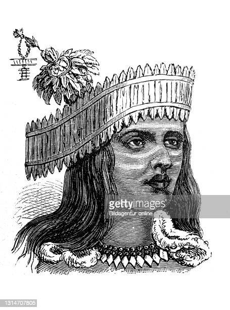 Native American, here a man with feather ornament from California, America, illustration from 1880 / Indianer, hier ein Mann mit Federschmuck aus...