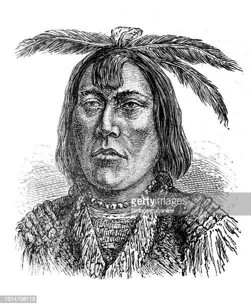 Native American, here an Indian of the American Northwest, illustration from 1880 / Indianer, hier ein Indianer der amerikanischen Nordwesten,...