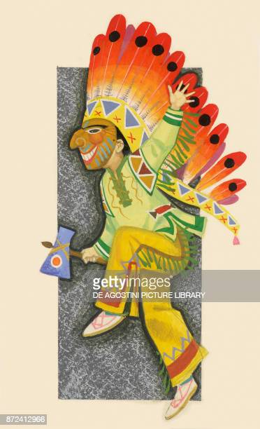 Native American Indian dancing children's illustration drawing