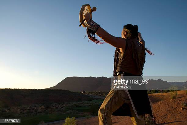 Native American Indian giving Sunset Blessing