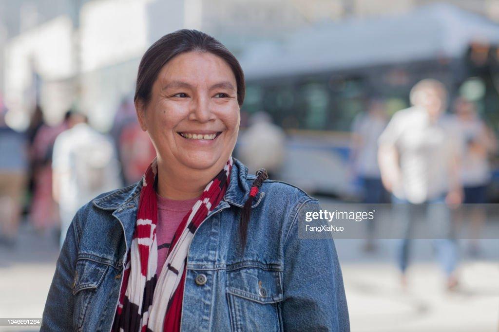 Native American lady street portrait : Stock Photo