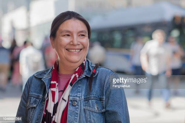 native american lady street portrait - canada stock pictures, royalty-free photos & images