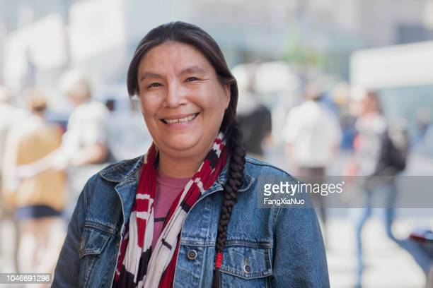 native american lady street portrait - first nations stock pictures, royalty-free photos & images
