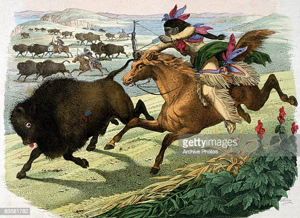 A Native American man hunting buffalo on horseback 1853