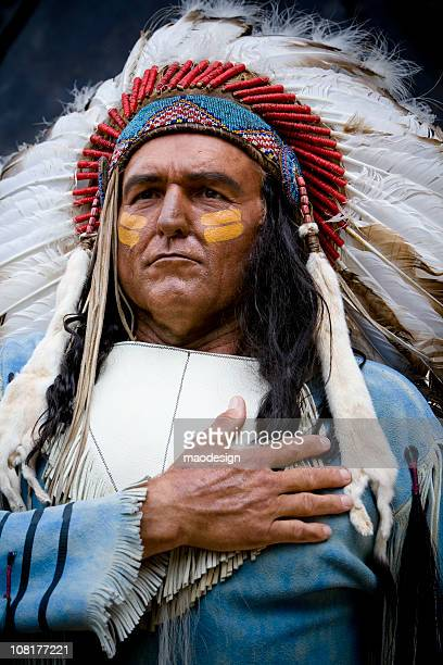 native american man wearing headdress - headdress stock pictures, royalty-free photos & images