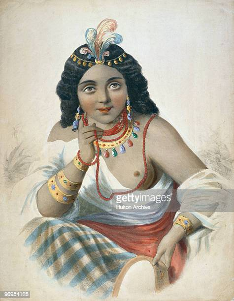 Native American princess Pocahontas or Matoaka circa 1615 The daughter of Virginian Native American chief Powhatan she converted to Christianity and...