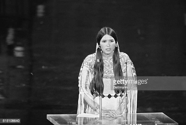 Native American Sacheen Littlefeather speaks at the 45th Academy Awards. On behalf of Marlon Brando, she refused the Best Actor award he was awarded...