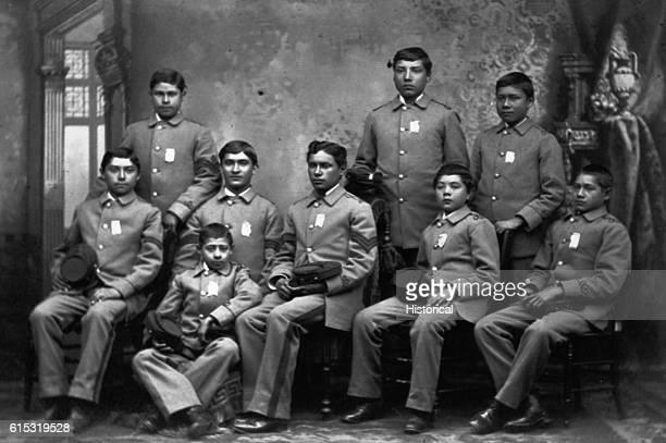 Native American students at Carlisle School in Pennsylvania between 1876 and 1896