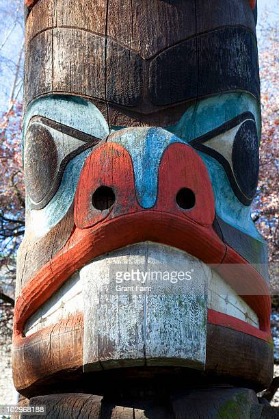 native american totem poles. - tribal art stock pictures, royalty-free photos & images