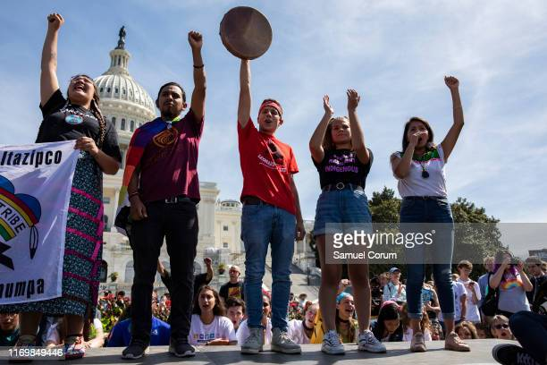 Native American youth speak in front of the US Capitol Building as part of the Global Climate Strike protests on September 20 2019 in Washington DC...