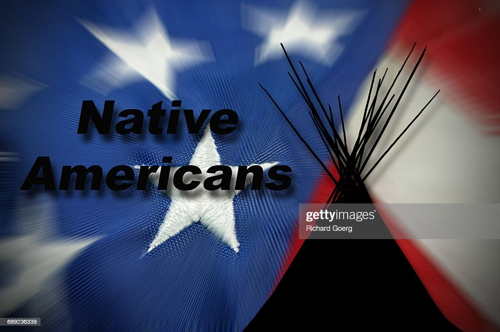 Native Americans and USA Flag : Stock Photo