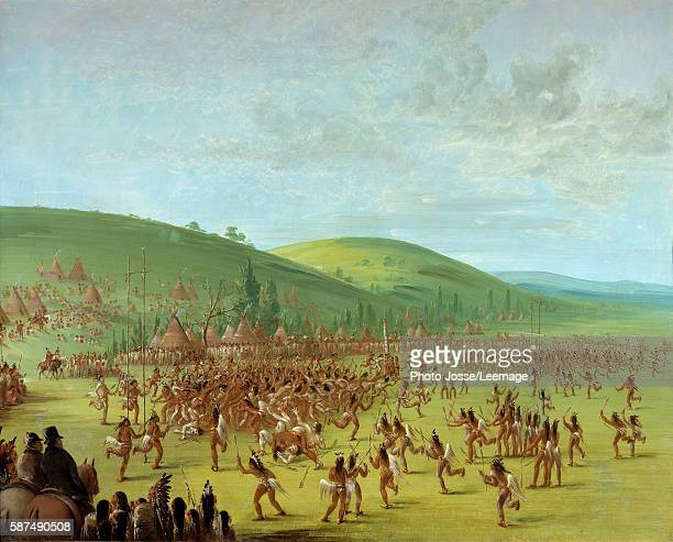 'Native Americans Ball Play' Painting by George Catlin 1835 Franco American Museum of Blerancourt France