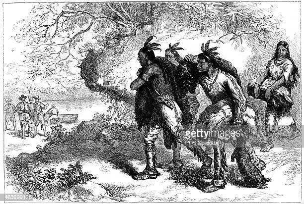 Native Americans bringing beaver skins to European traders 17th century A print from Cassell's History of the United States by Edmund Ollier Volume I...
