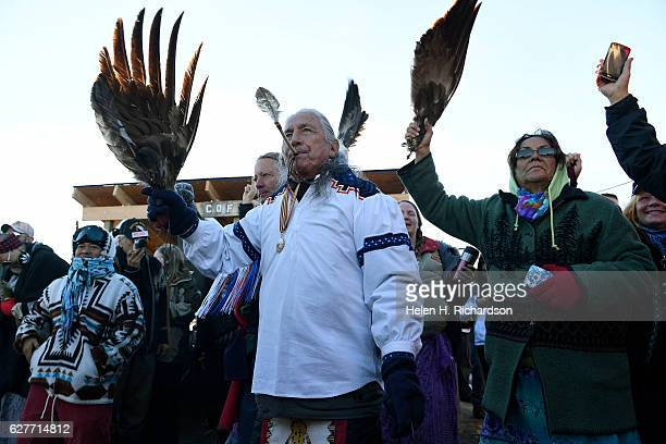 Native americans celebrate their victory after Sioux Chief Arvol Looking Horse announced, to members of over 300 nations, that the US Army Corps of...