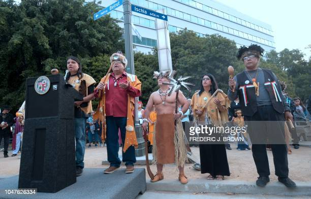 Native Americans from the GabrielinoTongva tribes of the Los Angeles basin lead a sunrise ceremony celebrating the first Indigenous People's Day in...