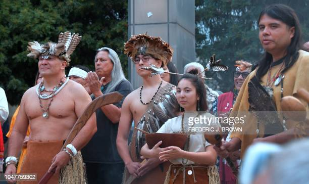Native Americans from the Tongva tribe attend a celebration of the first Indigenous People's Day in place of previously celebrated Columbus Day on...