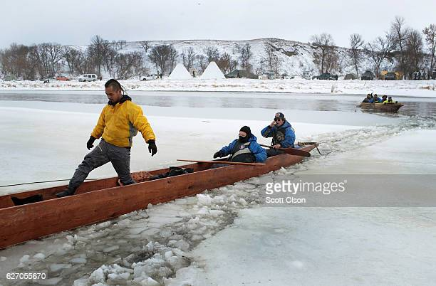Native Americans from Washington state arrive at Oceti Sakowin Camp on the edge of the Standing Rock Sioux Reservation after traveling from the...