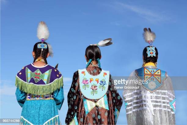 native americans in traditional dress at pow-wow - rainer grosskopf stock pictures, royalty-free photos & images