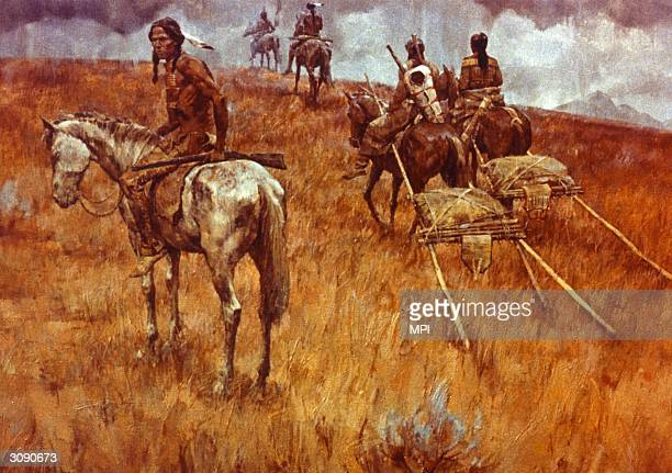 Native Americans leaving the site of the Battle of Little Big Horn after their decisive victory over General Custer and the US 7th Cavalry Two of the...
