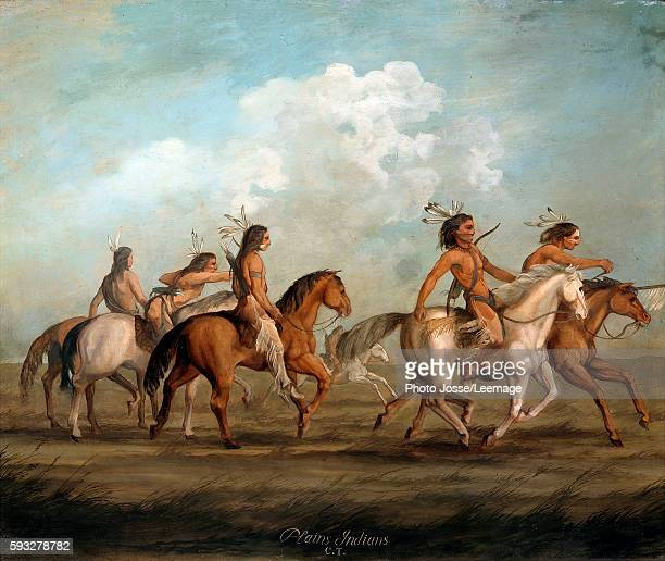 Native Americans on horseback Painting by George Catlin 19th century Museum of the New World La Rochelle France