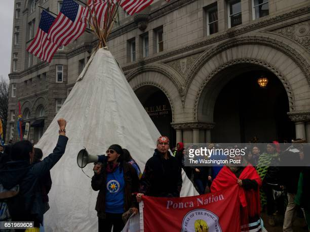 Native Americans who are against the DAPL project set up a teepee and rallied in front of the Trump International Hotel