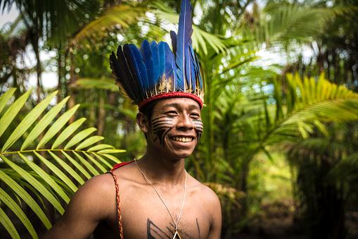 Native Brazilian man from Tupi Guarani Tribe in Brazil (Indio) 890135530