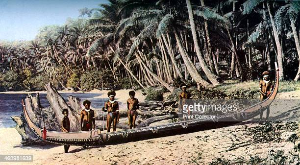 Native canoe on a palm shaded beach Solomon Islands c1923 A print from Countries of the World Volume VI edited by JA Hammerton The Fleetway House...