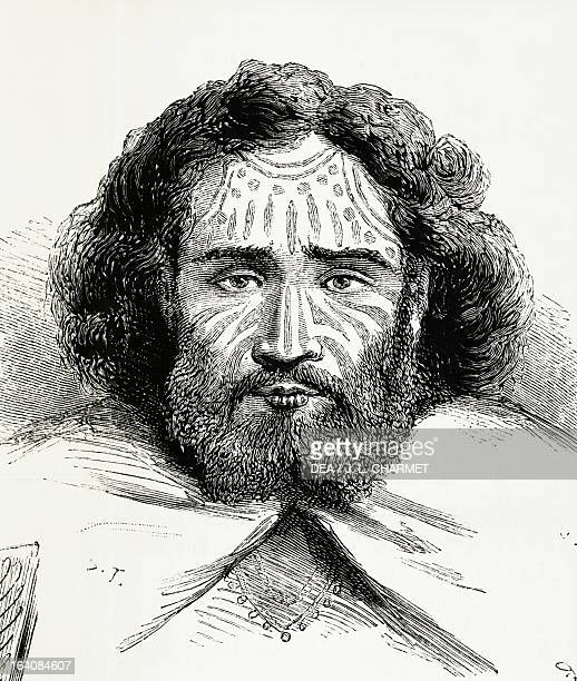 Native chief with tattoos on Easter Island journal of the expedition led by Theodore de Flore Lappelin engraving from Illustralia August 31 1872...