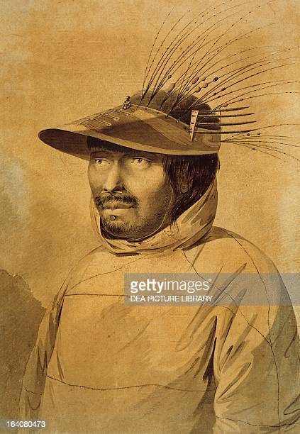 Native from Unalaska Island engraving based on a drawing by John Webber from an account of the last voyage of James Cook Aleutian Islands 18th...