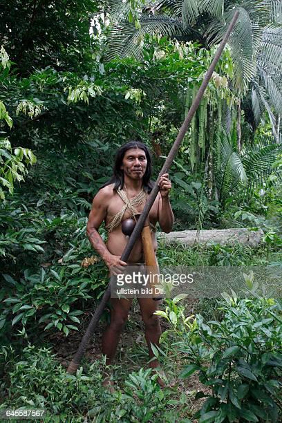 Native Huaorani people at Yasuni National Park Amazon Ecuador