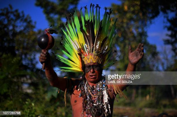Native Korubo Isolado from the Brazilian state of Acre performs a ritual at the abandoned and crumbling Indian Museum complex near the National...