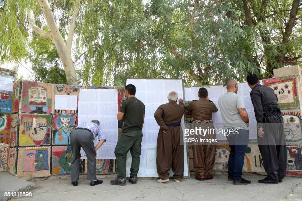 Native kurdish people are looking for their name at local polls station September 25 2017 is a historic day for Kurdish people around the world as...