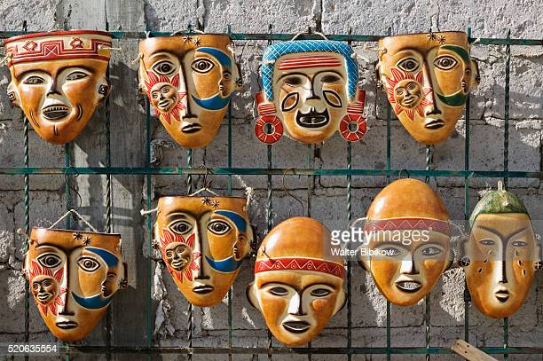 native mexican ceramic masks - dolores hidalgo stock pictures, royalty-free photos & images