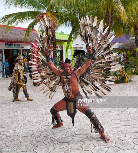 native mexican dancer with wings spread - mayan people stock photos and pictures