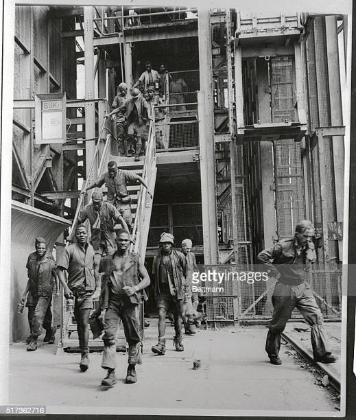 Native miners are shown here as they leave cages after a day's work at the Sallies Mine on the East Rand near Johannesburg. They go down 4,000 feet...