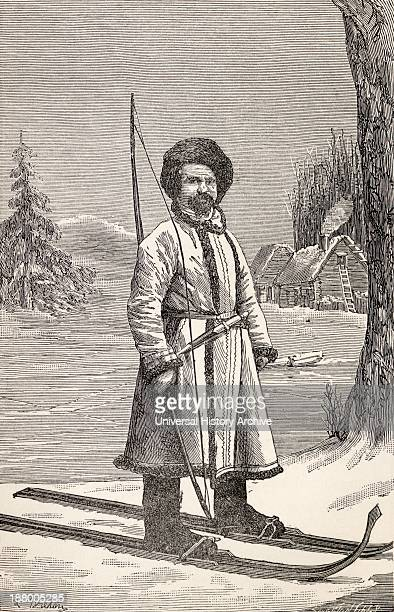 A Native Of Votiak Russia Wearing A Type Of Ski And Carrying A Long Bow And Arrows From The Book From Paris To Pekin Over Siberian Snows Published...