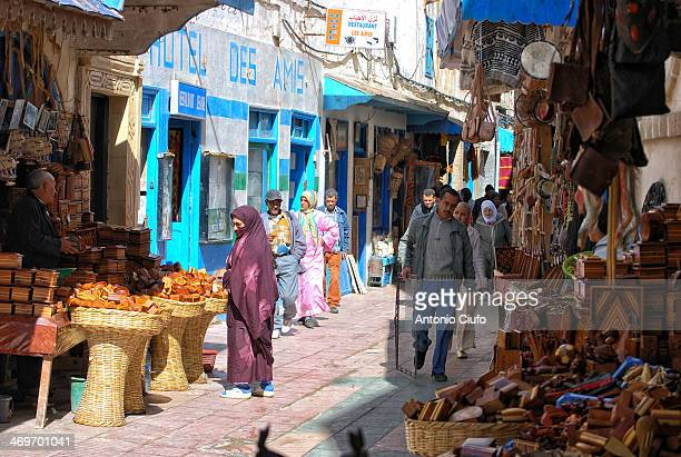 Native people in Marrakech souk , the traditional Moroccan marketplace. In the medina you can find, among other things, food, traditional spices,...