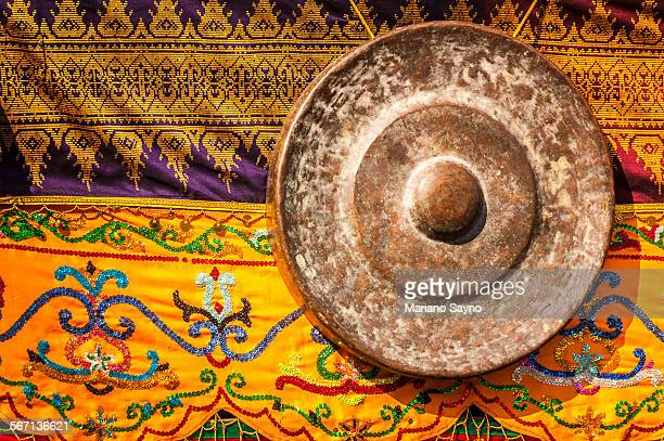 native philippine blanket and gong - filipino culture stock pictures, royalty-free photos & images