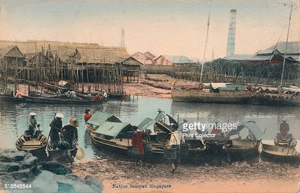 Native Sampan Singapore' circa 1910 Sampan a flat bottomed wooden boat traditionally used by fishermen Artist Unknown