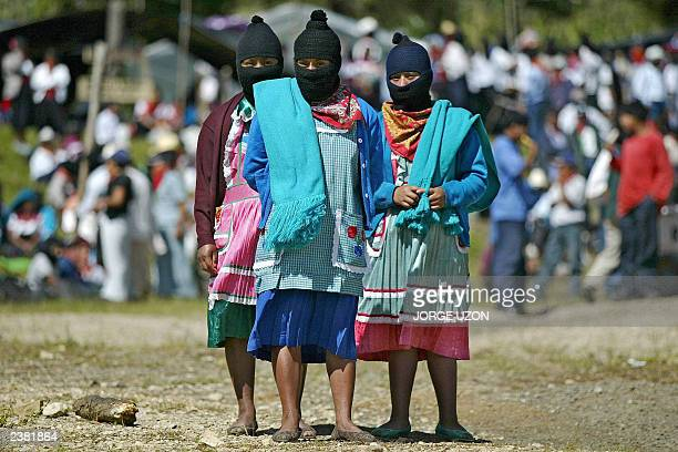 Native supporters of the Zapatista National Liberation Army arrive at Oventic southern Mexico 08 August 2003 Hundreds of supporters of the Zapatista...