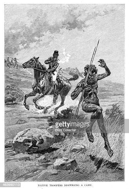 'Native Troopers Dispersing A Camp' Australia 1886 An aboriginal man being chased away from his camp during the colonisation of Australia Wood...