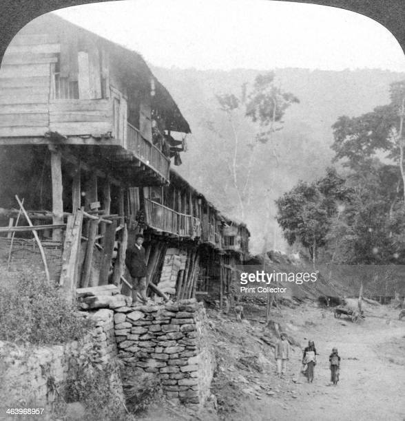 Native village Teesta Bridge near Darjeeling India 1903 Stereoscopic slide detail