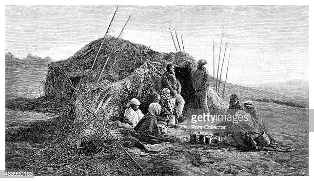 'A Native Wurley' 1886 Australian aboriginals in a 'wurley' or hut Wood engraving from 'Picturesque Atlas of Australasia Vol II' by Andrew Garran...