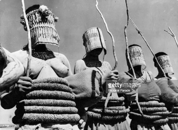 Native Zulu women dress up for a ritual for teenage girls in the Zulu tribes in South Africa