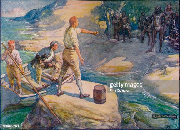 Natives Gathered Round Them' from 'Our Empire Story' by HE Marshall c1920 Captain Matthew Flinders English navigator and cartographer who was the...