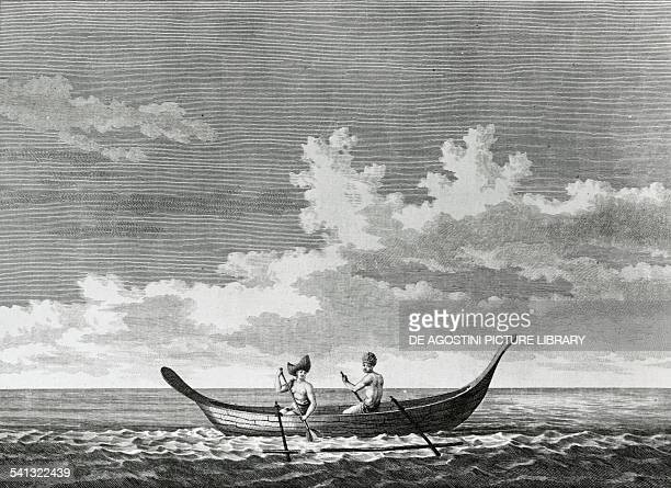 Natives in a pirogue Easter Island drawing by FrancoisMichel Blondela engraving by LouisJoseph Masquelier from the Atlas du voyage de La Perouse by...